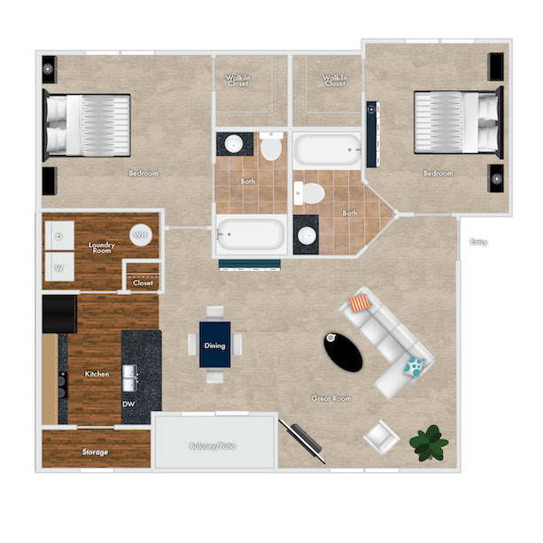 Azalea Floor Plan, 2 Bedrooms, 2 Baths