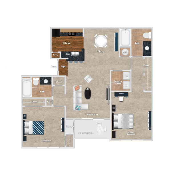 Beech Floor Plan, 2 Bedroom, 2 Bath.
