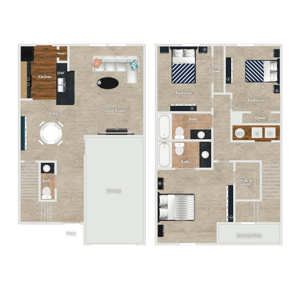 Boxwood floor plan, 2 Bedrooms, 2 Baths with Garage