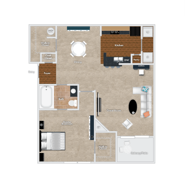 Cedar Floor Plan, 1 Bedroom, 1 Bath