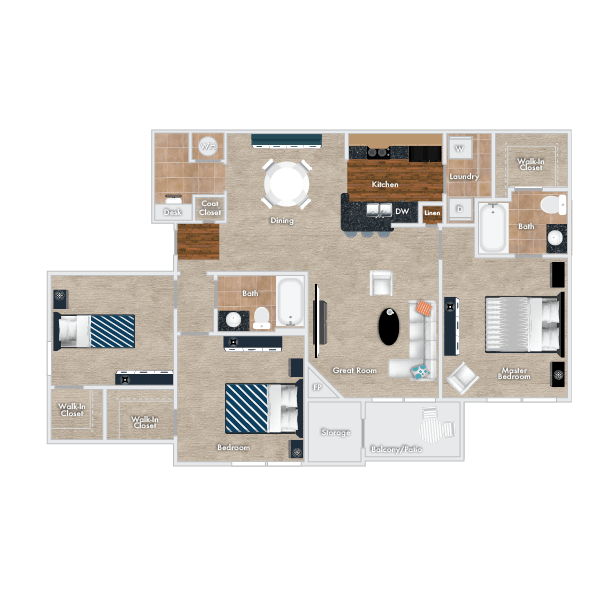 Cranberry Floor Plan, 2 Story, 3 Bedrooms, 2 Baths with garage.