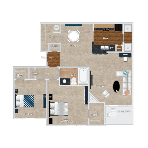 Maple Floor Plan, 1 Bedroom, 1 Bath