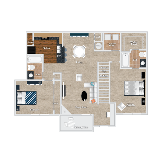 Marigold Floor Plan, 2 Bedrooms, 2 Baths with Garage