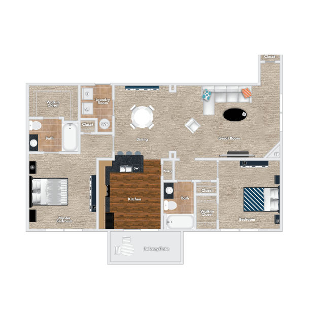 Plum Floor Plan - Downstairs Option, 2 Bedrooms, 2 Baths with Garage