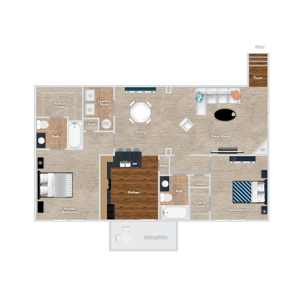 Plum Floor Plan - Upstairs Option, 2 Bedrooms, 2 Baths with Garage