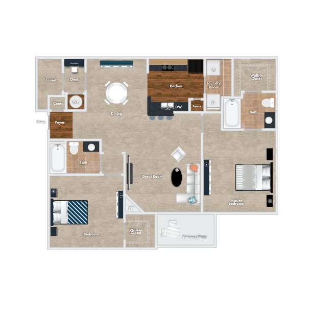 Poplar Floor Plan, 2 Bedrooms, 2 Baths.