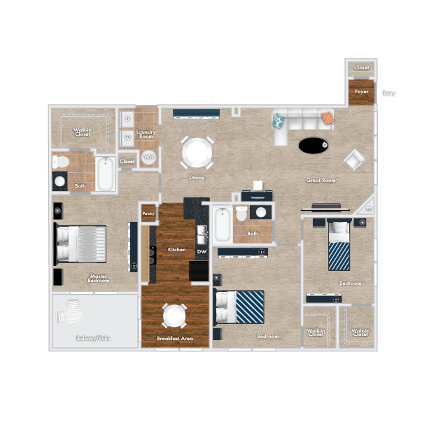 Sweet Bay floor plan - Downstairs Option, 2 Story, 3 Bedrooms, 2 Baths with Garage