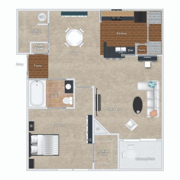 Cedar Floor Plan - 1 bed, 1 bath