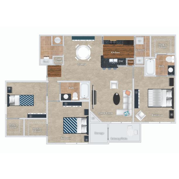 Cranberry floor plan - 3 beds, 2 baths