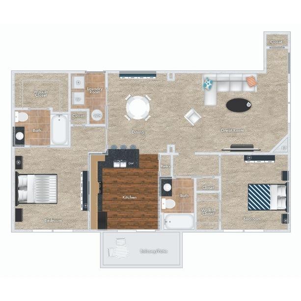 Plum floor plan - 2 beds, 2 bath